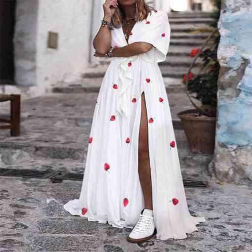 Tissu coton fraise