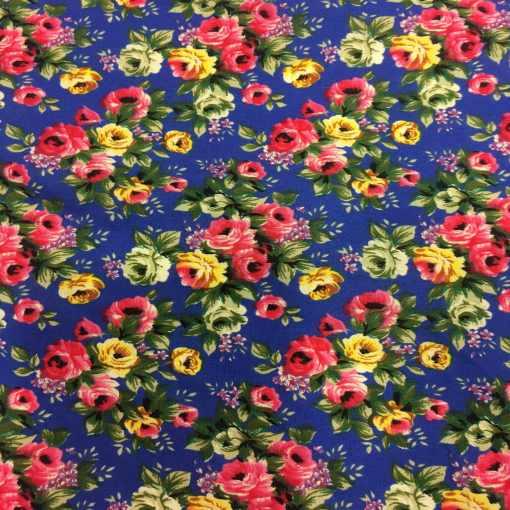 Tissu coton imprimé fleuris rose sur fond bleu