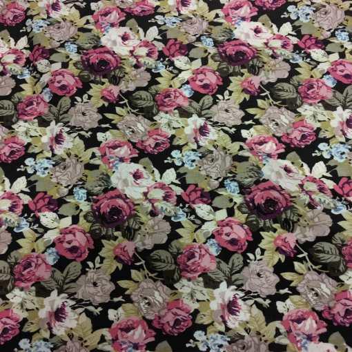 Tissu coton imprimé fleuris rose sur fond noir