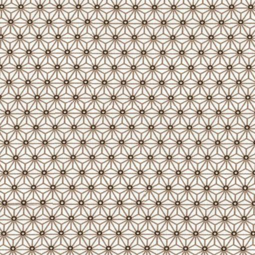 Tissu coton imprimé motif cube géométrique fond blanc taupe