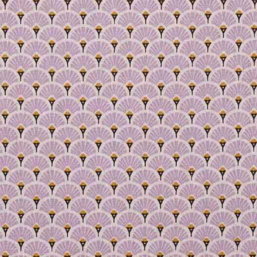 Tissu coton imprimé motif paon lavande