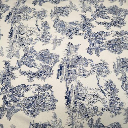 Tissu coton milleraies toile de jouy bleu