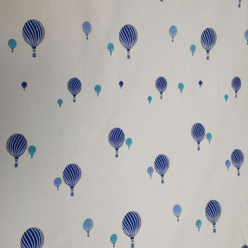 Tissu coton montgolfière bleu