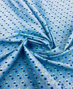 Tissu coton motif fleuris bleu ciel