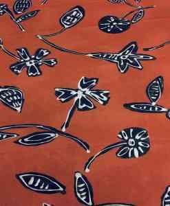 Tissu coton motif fleurs noir