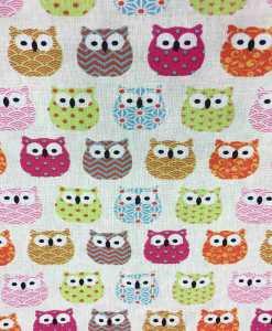 Tissu coton motif imprimé Hibou multicolors