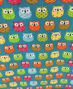 Tissu coton motif imprimé Hibou multicolors vert