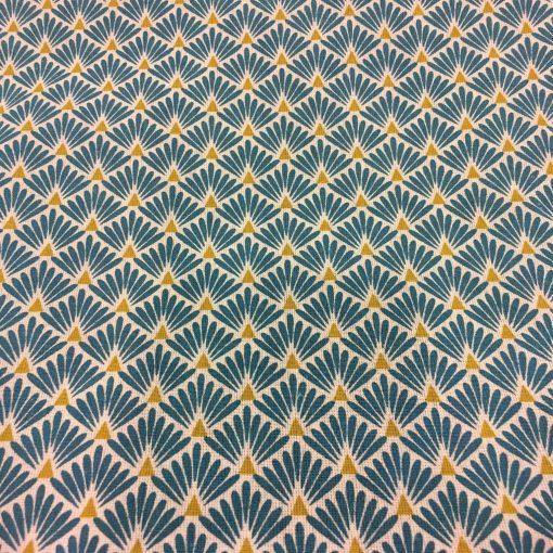 Tissu coton motif imprimé Paon beige et bleu