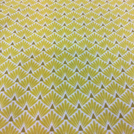 Tissu coton motif imprimé Paon jaune et blanc