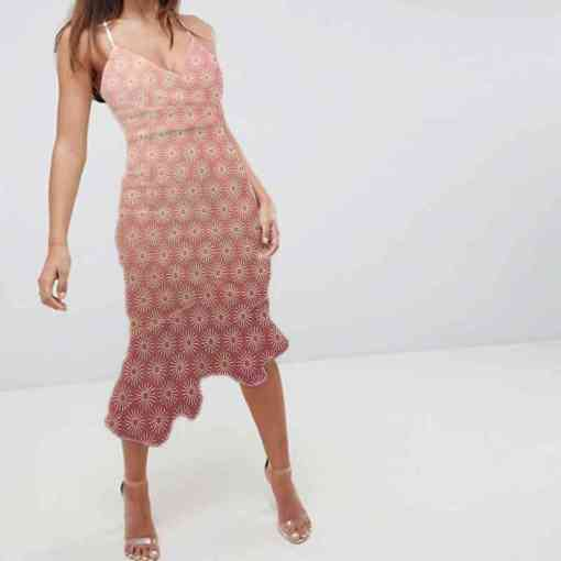 Tissu coton motif soleil bois de rose