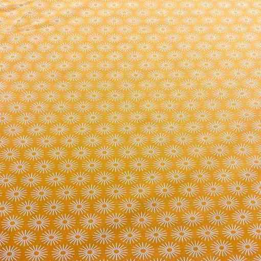 Tissu coton motif soleil moutarde