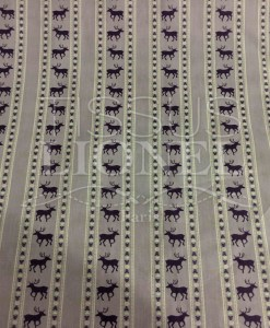 Tissu coton parme motif imprimé cerf