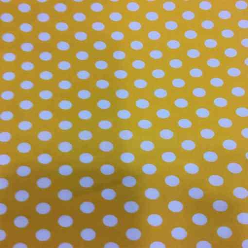 Tissu coton petit pois blanc sur fond jaune