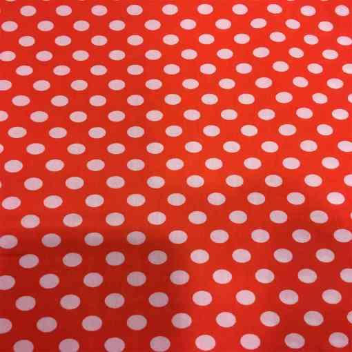 Tissu coton petit pois blanc sur fond rouge