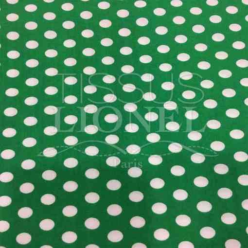Tissu coton petit pois blanc sur fond vert