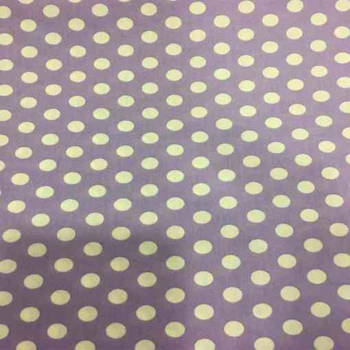 Tissu coton petit pois blanc sur fond violet