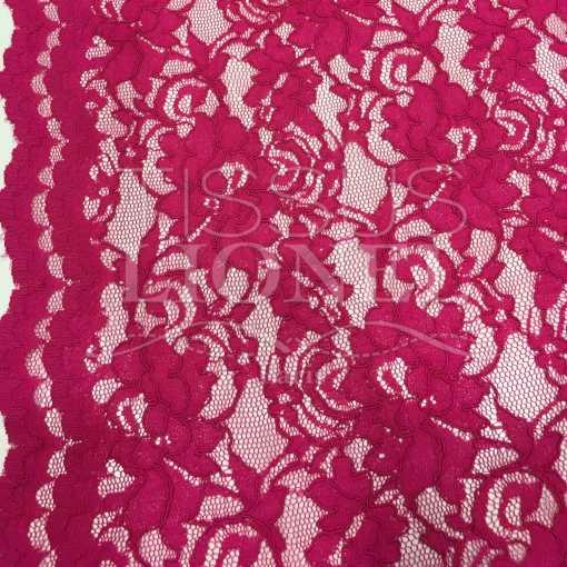 Tissu dentelle couture festonnée fuchsia