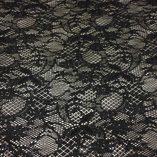 Tissu dentelle lycra noir leavers