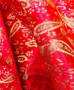 Jacquard fabric red and gold lurex 2