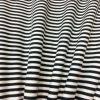 Tissu jersey de coton blanc rayure noir