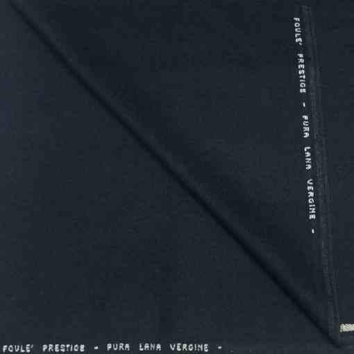 Tissu lainage bleu marine chiné foule prestige