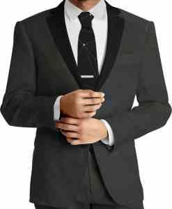 Tissu lainage gris noir