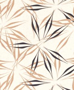 Tissu lin viscose imprimé feuilles blanc cassé 2