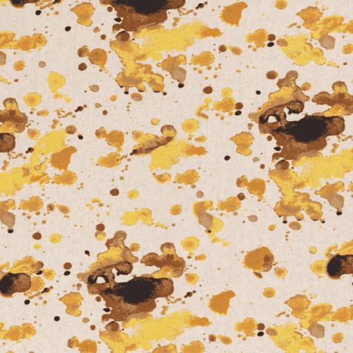 Tissu lin viscose tache aquarelle ocre