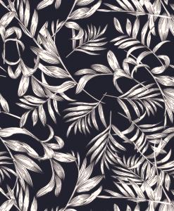 Tissu mélange polyester imprimé feuilles blanc marine 2