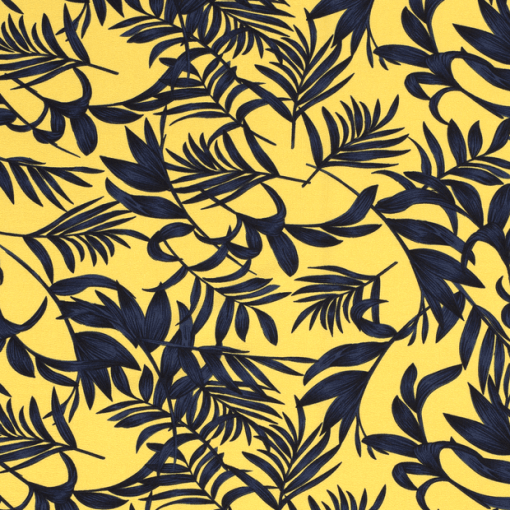 Tissu mélange polyester imprimé feuilles jaune