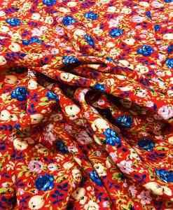 Tissu microfibre motif jardin printanier rouge