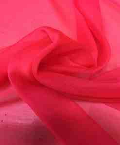Tissu mousseline corail fluo foncé