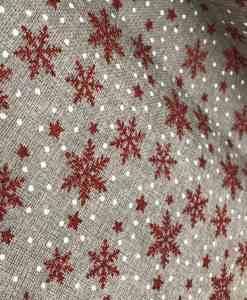 Tissu toile de jute flocon rouge Noël