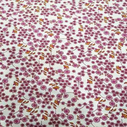 Tissu toucher de soie motif florales 11