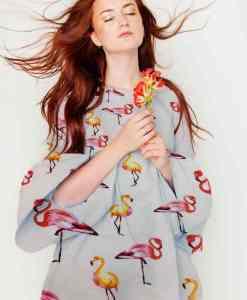 напечатанный вискоза ткань парус белый фламинго сломанной платье
