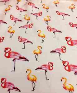 вискоза ткань печати вуаль вне белый фламинго