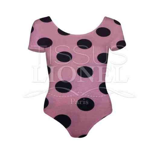 Tissu burlington petit pois noir sur fond bois de rose