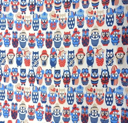 Tssu coton hibou bleu