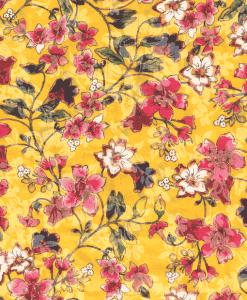 Voile imprimé fleurs jaune