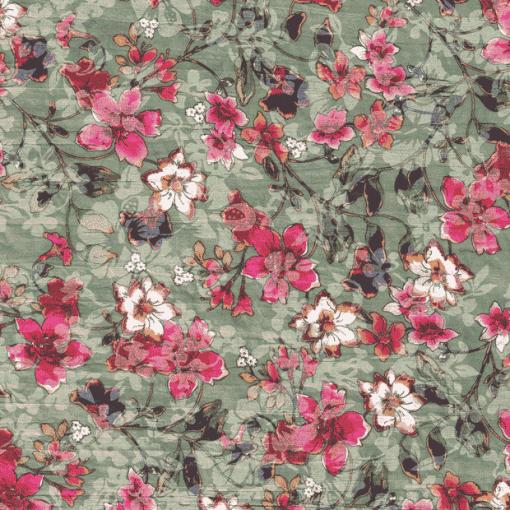 Voile imprimé fleurs menthe