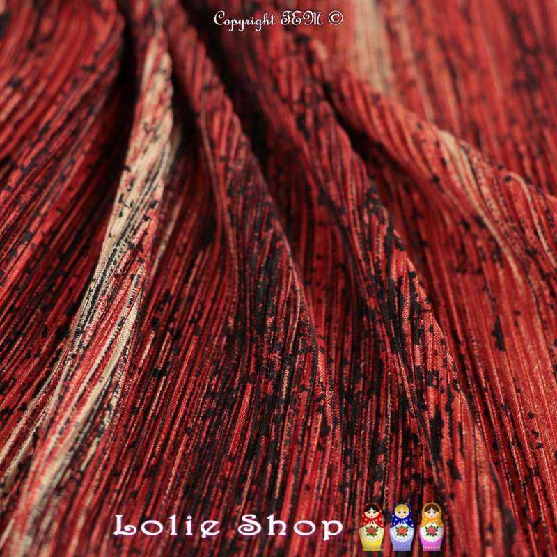 magnifique tissu satin plisse pas cher mouchete ton couleur rouge