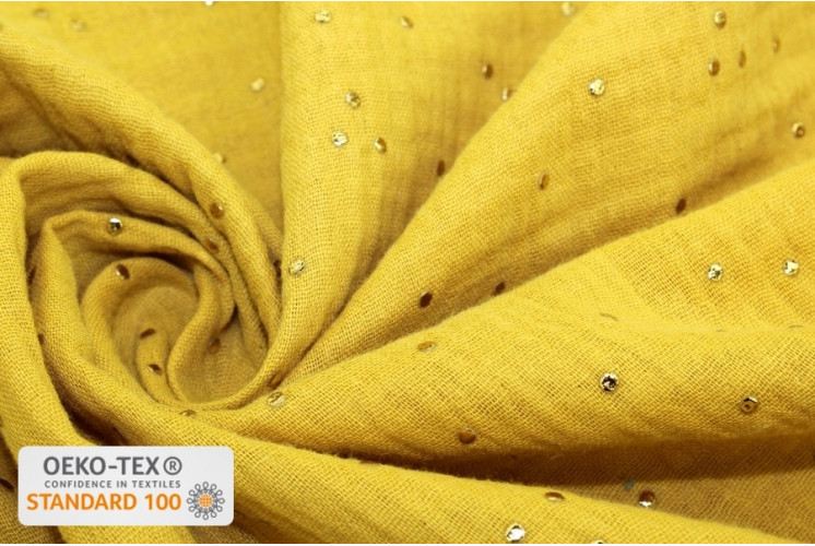 tissu coton double gaze gaufree pois dores moutarde