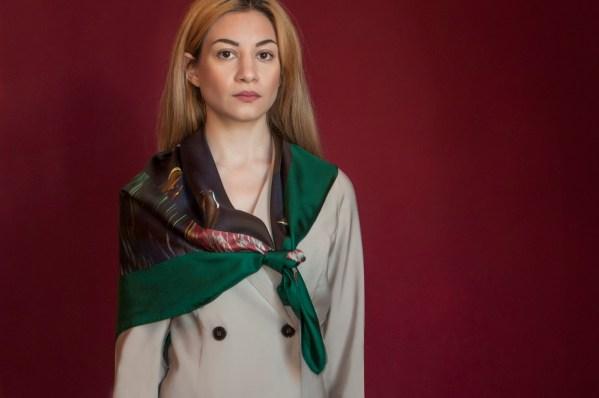Multicolor Unisex silk foulard, for men & Women with geometric pattern.