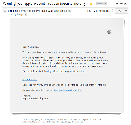 Scam email targets Apple developers, tries to steal Apple ID password