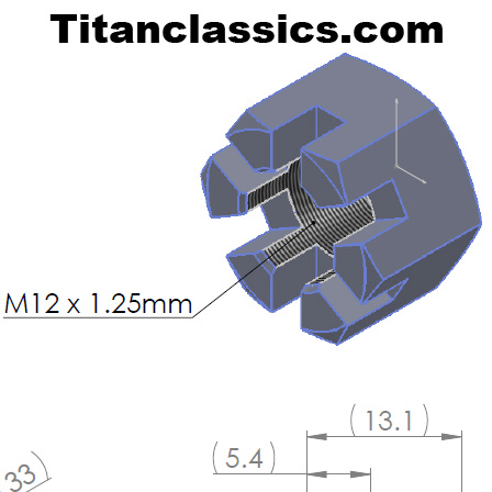 M12 x 1.25mm castellated nut