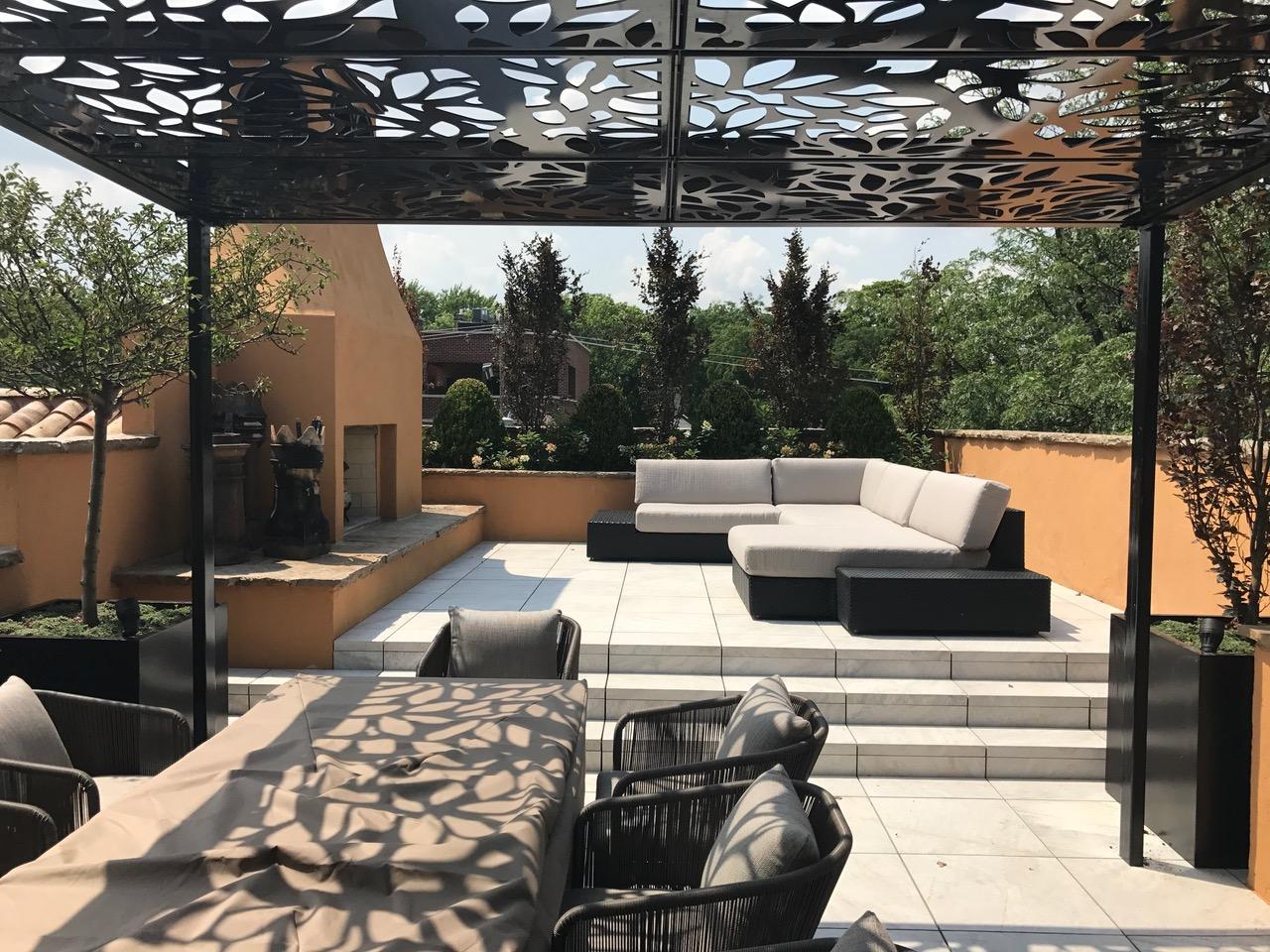 Custom Design All Weather Rooftop Pergola Titan Cut