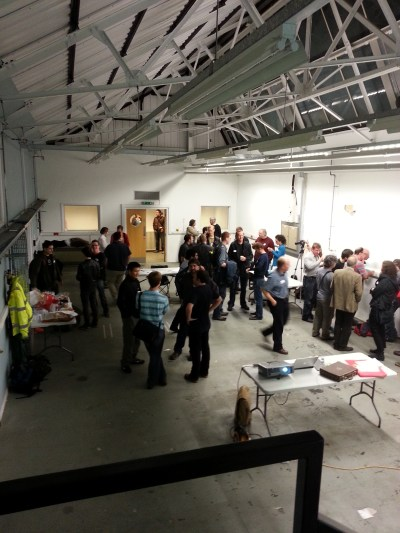 People gathering in the cambridge makespace