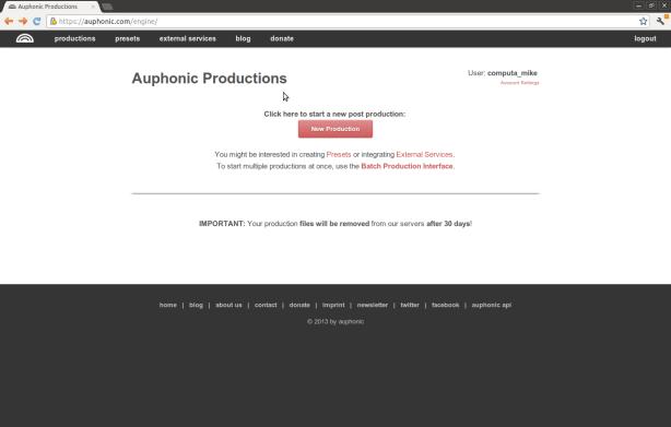 Empty Auphonic Screen
