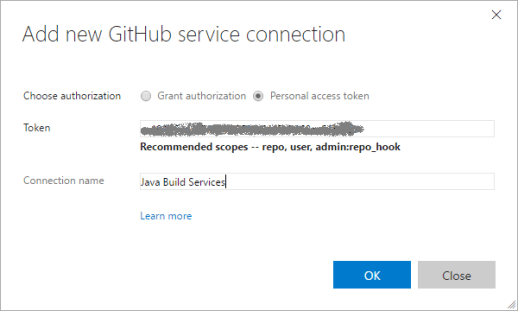 Setting Visual Studio Team Systems with GitHub Personal Access Token