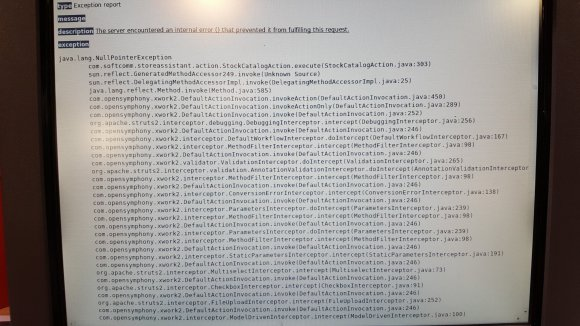 Argos terminal showing start of stack trace